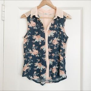 Urban Outfitters Sleeveless Collared Floral Blouse